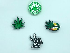 Shoe Charms for Crocs Weed Hemp Marijuana Pot Hookah | Clogs Bracelet Craft Gift