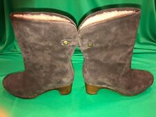 UGG Lynnea 1955 Women's Brown Suede Shearling Wood Clog Boots Size US 7