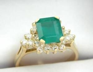 DIAMOND EMERALD RING NATURAL GREEN EMERALD CUT EMERALD 18K