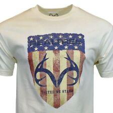 Realtree Mens Tee T Shirt S to 2 XL USA American Flag Deer Sleeve Hunting Camo