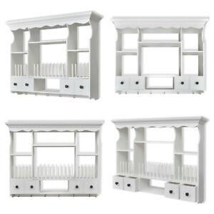 Kitchen Wall Cabinet Wooden Cupboard White Display Unit Storage Shelf Organiser