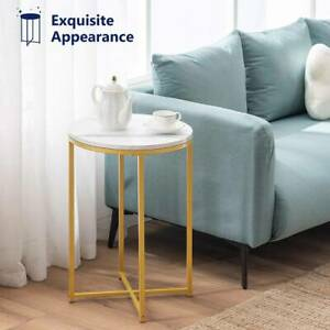 Round Marble Effect Coffee Table Large Sofa Side End Table Golden Metal Frame