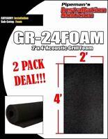 "Foam Thick Black 2' Wide x 4""'Long x 3/8"" DJ Speaker Woofer Cabinet Grill 2 PCS"