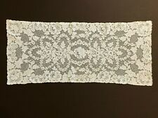 Antique Cream French Alencon Lace Table Dresser Runner Roses Floral ~35'' x 15''