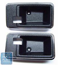 1978-80 GM F Body Deluxe Door Handle Escutcheon - Thin Chrome Edge Black Pair