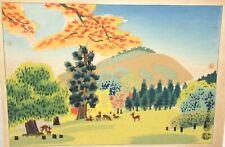 BENJI ASADA DEER TREE LANDSCAPE ORIGINAL SIGNED JAPANESE WOODBLOCK