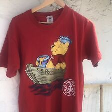 Vtg 90s Winnie The Pooh S.S. Pooh T-Shirt Sz Large Disney Red Single Stitch