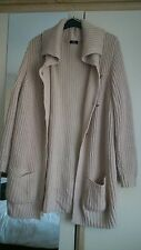 Womens size 20 long beige knit cardigan, large collar, pockets, toggle buttons