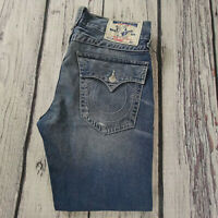 Men's True Religion Jeans 34 x 29 (tag 33) Ricky Straight Leg Jeans Blue RRP£180