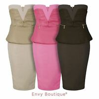 NEW WOMENS LADIES PEPLUM PU DETAIL BODYCON SIDE GOLD ZIP BANDEAU DRESS 8-14