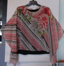 CJ Banks Size 3X Diagonal Floral print poncho with shell, browns & coral NWT