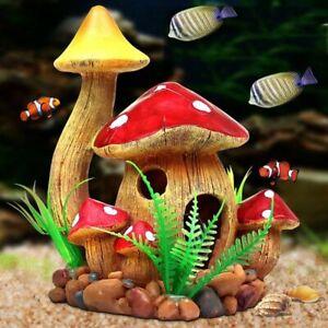 Aquarium Fish Tank Decorative Mushroom House Breed Nest Hiding Cave Accessory