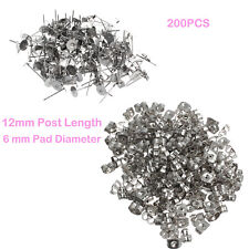 200 Pack DIY Craft Flat Pad Earring Stud Posts + Nut Backs 6mm Stainless Steel