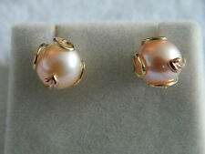 Clogau 9ct Yellow & Rose Welsh Gold Caged Pearl Stud Earrings RRP £360.00
