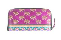 Handmade Shantiniketan Pure Leather Women's Wallet Clutch Purse Elephant Design