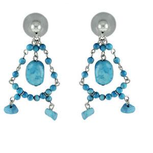 HSN Ralph Lauren Silvertone Blue Turquoise Gemstone Drop Earrings $179