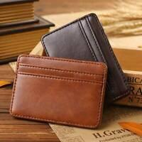 Mens Slim Minimalist Wallet Leather Front Pocket RFID ID Credit Card Holder Case