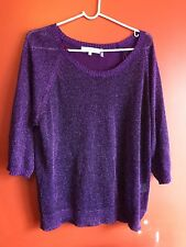 Womens Short Sleeve Top, One7Six, Purple, 1X, Polyester Blend