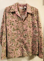 Womens DRESSBARN Pink Floral Long Sleeve Corduroy Blouse Shirt Top Lightweight L
