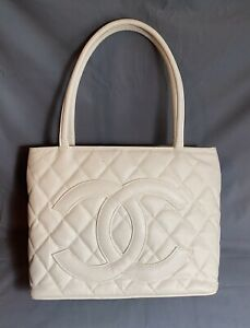 Vtg CHANEL Handbag Bag Purse CAVIER White Leather Italy Excellent Condition ORIG