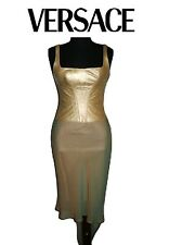 VERSACE ~ LUXURY Gold leather Bustier Asimetrical Dress ~ size: S * AUTHENTIC