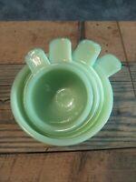 Jeannette Vintage Jadeite Nesting Measuring Cup Set Of 4, 1, 1/2, 1/3, 1/4 Cups