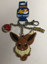 Pokemon Eevee Soft Touch Keychain Key Ring w/ Metal Pokeball and Logo New
