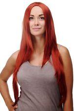 Perruque Rouge Foncé-cuivré Rouge Lisse Raie au Milieu Raie 80 cm Long 3217-135