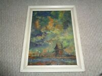 1940 abstract oil painting impasto blue skies river windmills Holland various co