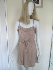 DIVIDED - PEACH SPOTTED SUN Dress Size 12 Uk Euro 40 - 100% VISCOSE