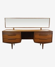 White & Newton Teak Kneehole Dressing Table With Side Drawers 1960's
