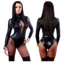 Women Leather Leotard Bodysuit WetLook Lace up Jumpsuit Catsuit Clubwear Romper