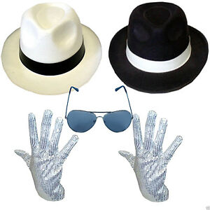 MICHAEL JACKSON HAT & SEQUIN GLOVE FANCY DRESS GANGSTER STAR COSTUME SET DELUXE