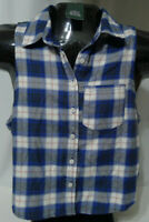Wild Fable Sleeveless Plaid Flannel Button Down Shirt Cropped Medium Women's