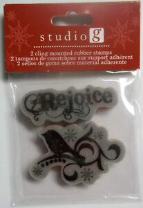 Rejoice  Unmounted Cling Rubber Christmas Stamps Hampton Art  NIP