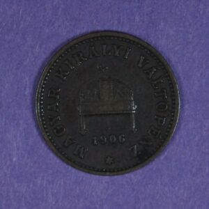 1906 KB Hungary 1 Filler coin, KM# 480, key date