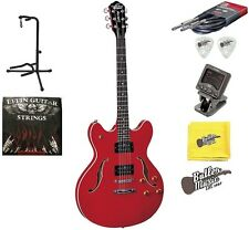 Oscar Schmidt OE30CH Semi Hollowbody Electric Guitar with Picks Strings and More