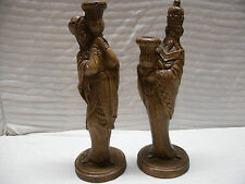 """Pair of Vintage Large 14"""" Tall Chalkware Christmas Nativity Kings Candle Holders"""