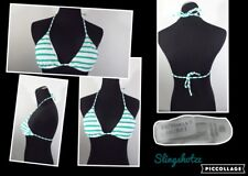 "'10 *Victoria Secret* Wmn's ""XS"" Wht/Green Striped Triangle Swimwear Bikini Top"