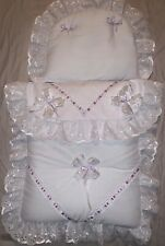 DOLLS PRAM BEDDING SET+ MATTRESS for Silver Cross Pram - Snow Fairy Princess