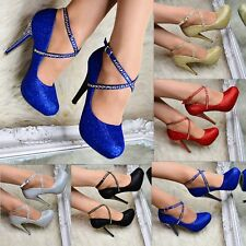 Ladies Ankle Strap Glitter High Heels Studded Closed Toe Court Shoes Pumps Size