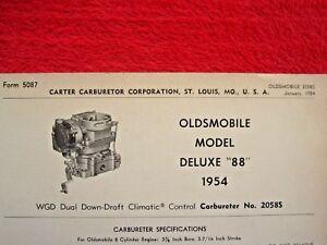 1954 OLDSMOBILE DELUXE 88 CARTER WGD CARBURETOR SPEC INFO SHEET