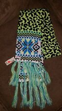 NWT JUSTICE Girls Black, neon green,blue fairaisle animal glitter knit scarf