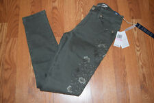 NWT Womens SEVEN 7 Dusty Olive High Rise Skinny Floral Jeans Sz 8 $89