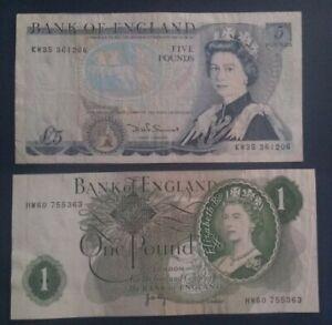 British banknotes. 1 X £5 , 1 X £1.Circulated but still Clean & crisp .