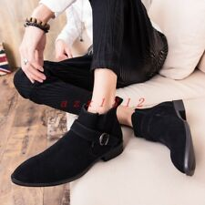 men Pointy Toe Buckle Flat Suede Ankle Boot Shoe Zip British Casual Fashion New