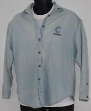 Denim Jean Shirt Mens Small Faded Blue Centigram Embroidered Vintage Look