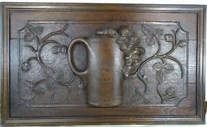French Antique Large Deep Carved Oak Wood Panel with Mug of Beer / Salvage