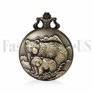 Men's Retro Vintage AlloyThe Old Bear Number Bronze Quartz Pocket Fob Watch