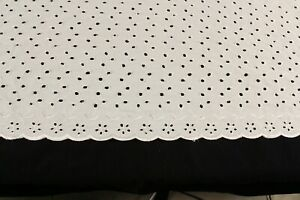 Eyelet Lace Bed Skirt 21 Inch Drop Queen Size Ivory